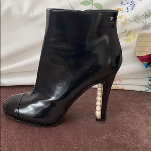 Authentic Chanel Booties with Pearl Heel-